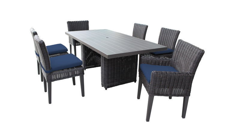 Venice Rectangular Outdoor Patio Dining Table with with 4 Armless Chairs and 2 Chairs w- Arms