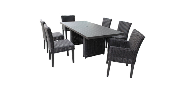 Venice Rectangular Outdoor Patio Dining Table with 4 Armless Chairs and 2 Chairs with Arms, Without Cushions