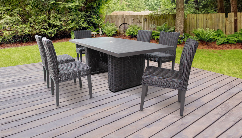 Venice Rectangular Outdoor Patio Dining Table with 6 Armless Chairs, Without Cushions