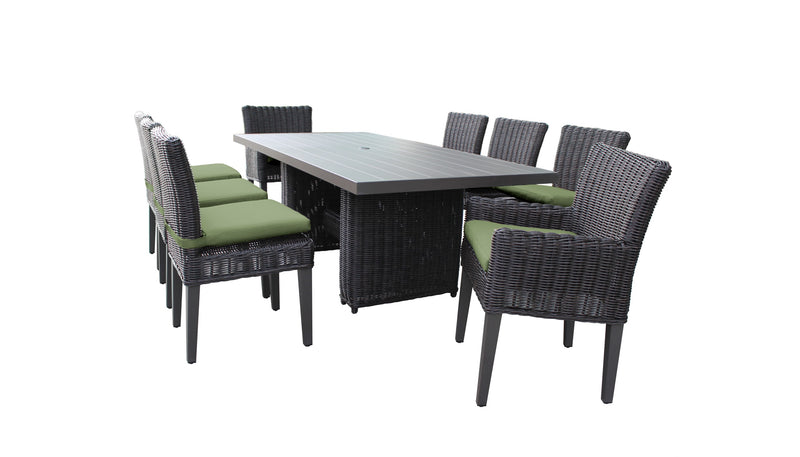 Venice Rectangular Outdoor Patio Dining Table with with 6 Armless Chairs and 2 Chairs w- Arms