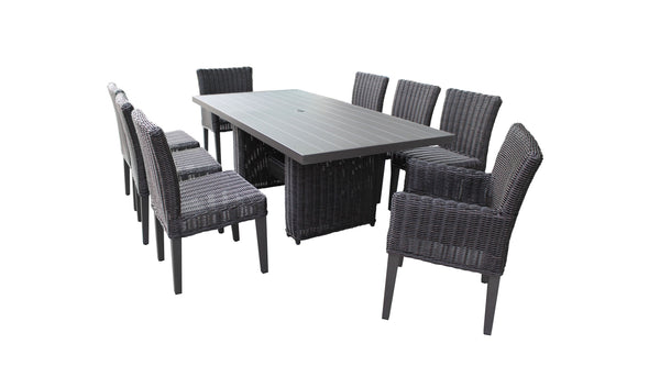 Venice Rectangular Outdoor Patio Dining Table with with 6 Armless Chairs and 2 Chairs w- Arms, Without Cushions