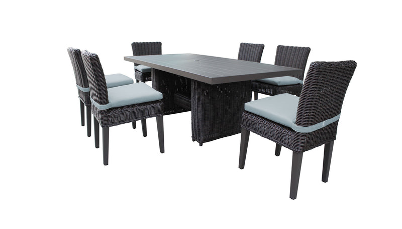 Venice Rectangular Outdoor Patio Dining Table with 6 Armless Chairs