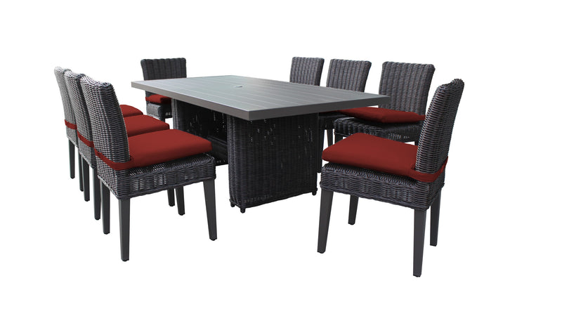 Venice Rectangular Outdoor Patio Dining Table with 8 Armless Chairs