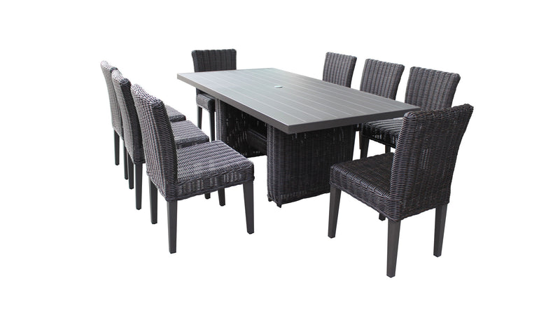 Venice Rectangular Outdoor Patio Dining Table with 8 Armless Chairs, Without Cushions