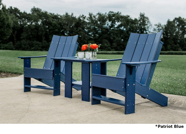 Outdoor Contemporary 2 Adirondack Chairs with 1 Side Table by Wildridge