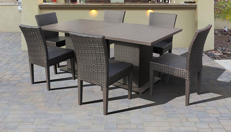 Barbados Square Dining Table with 6 Chairs Without Cushions