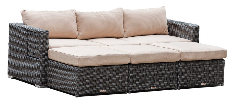 Cove - 4 Piece Sofa Set With Ottomans - Gray Wicker - Adjustable