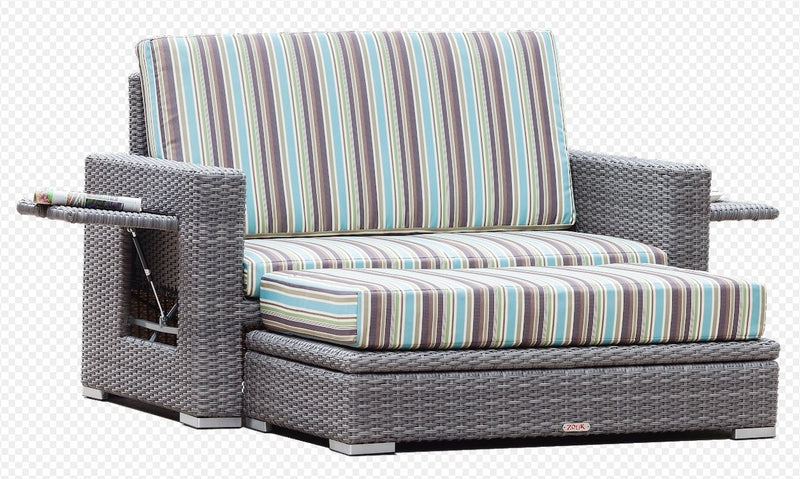 Aruba - 2 Piece Loveseat with Storage Ottoman - Grey Wicker
