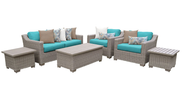 Coast 7 Piece Outdoor Wicker Patio Furniture Set 07d