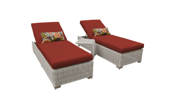 Coast Chaise Set of 2 Outdoor Wicker Patio Furniture With Side Table