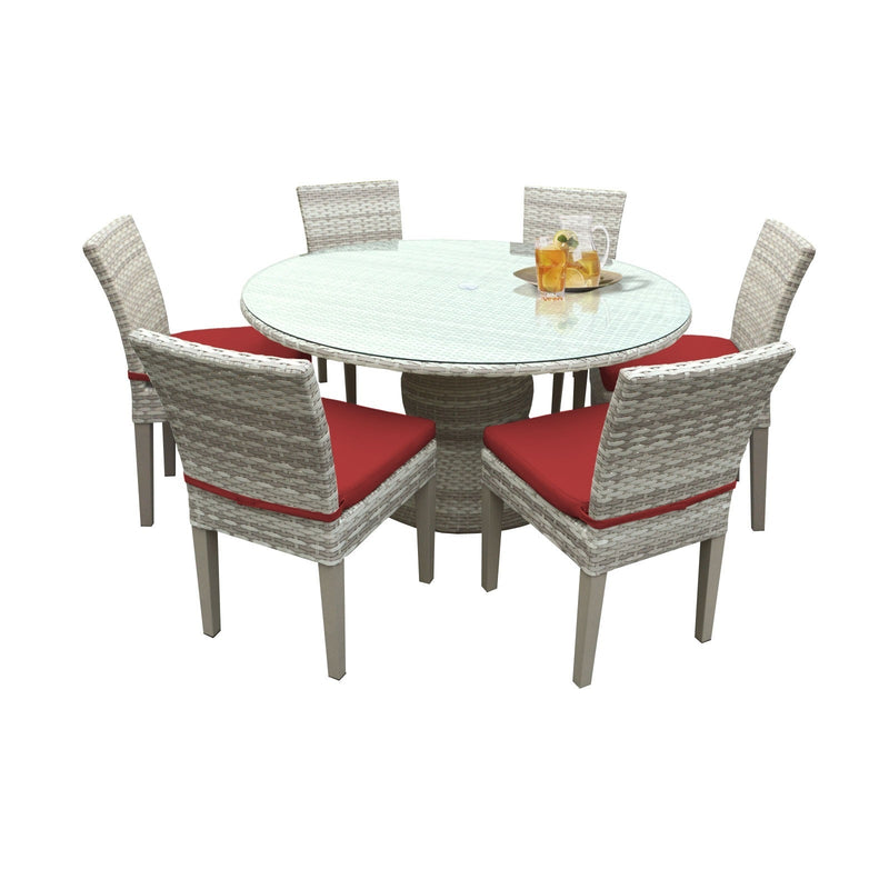 Fairmont 60 Inch Outdoor Patio Dining Table with 6 Armless Chairs