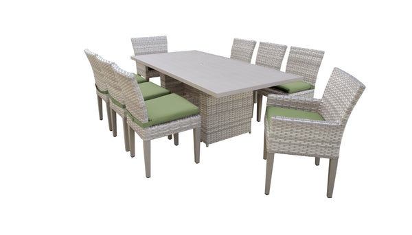 Fairmont Rectangular Outdoor Patio Dining Table With 6 Armless Chairs And 2 Chairs W- Arms