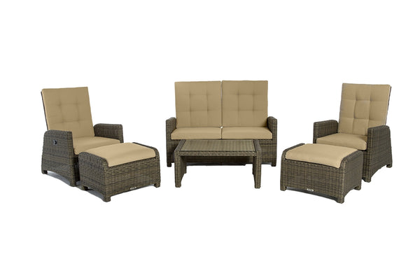 FIJI - 6 Piece Lounge Chairs and Loveseat Reclining - Brown Wicker