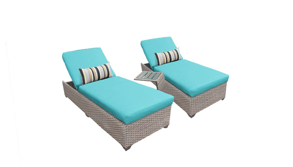 Florence Chaise Set of 2 Outdoor Wicker Patio Furniture With Side Table