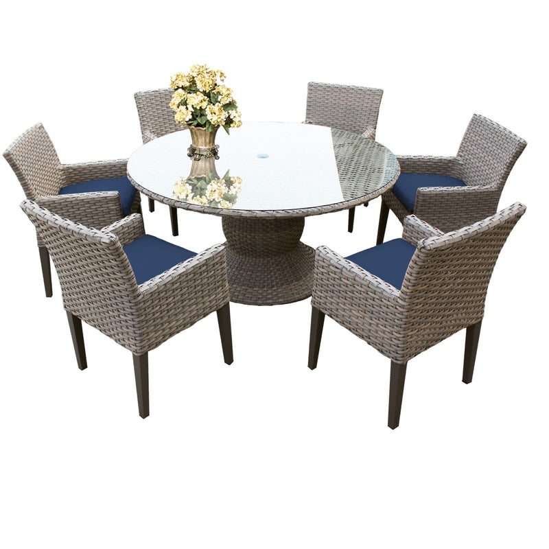 Florence 60 Inch Outdoor Patio Dining Table with 6 Chairs w- Arms