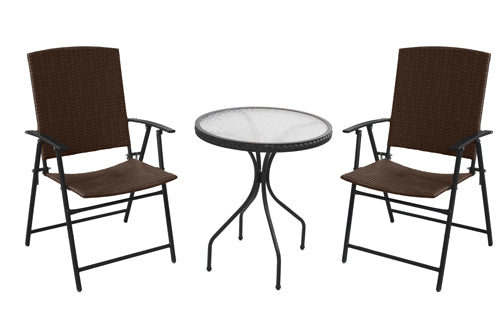 3 Piece Patio Bistro Set-Dark Brown Wicker