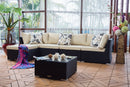 Nadi - 6 Piece Sofa Set Sectional - Black Wicker