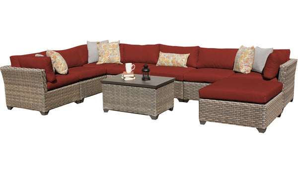 Monterey 9 Piece Outdoor Wicker Patio Furniture Set 09b