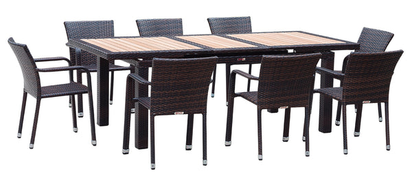 Roche - 9 Piece Dining Set - Dark Brown Wicker - Extendable Table