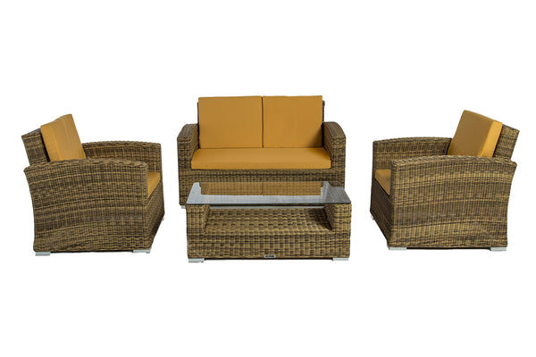 Suva - 4 Piece Conversation Set - Brown Wicker by Gooddegg
