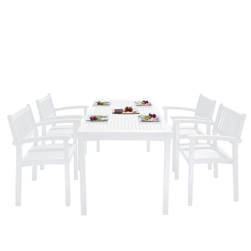 AUKI Outdoor Patio Wood 5-piece Dining Set with Stacking Chairs