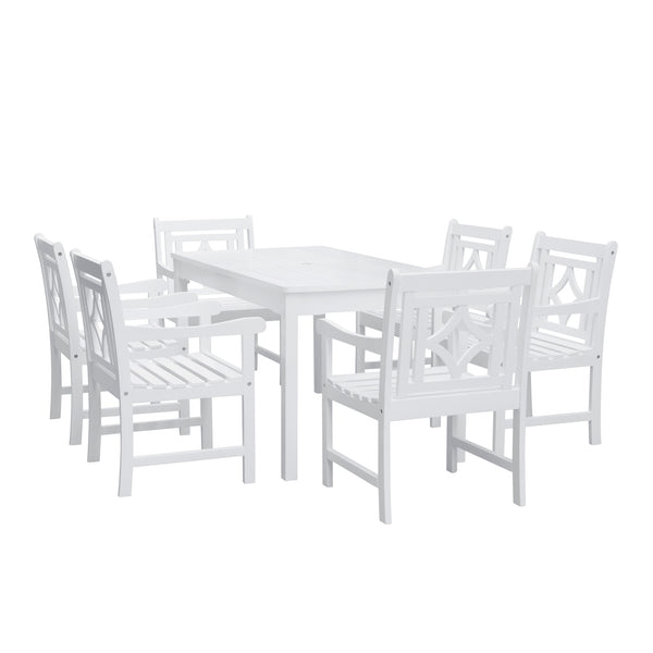 AUKI Outdoor 7-piece Wood Patio Rectangular Table Dining Set