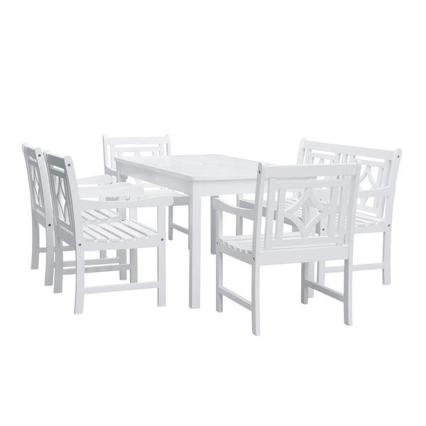 AUKI Outdoor 6-piece Wood Patio Rectangular Table Dining Set