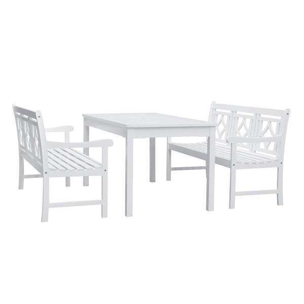 AUKI Outdoor 3-piece Wood Patio Rectangular Table Dining Set