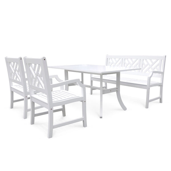 AUKI Outdoor 4-piece Wood Patio Dining Set with 5-foot Bench in White