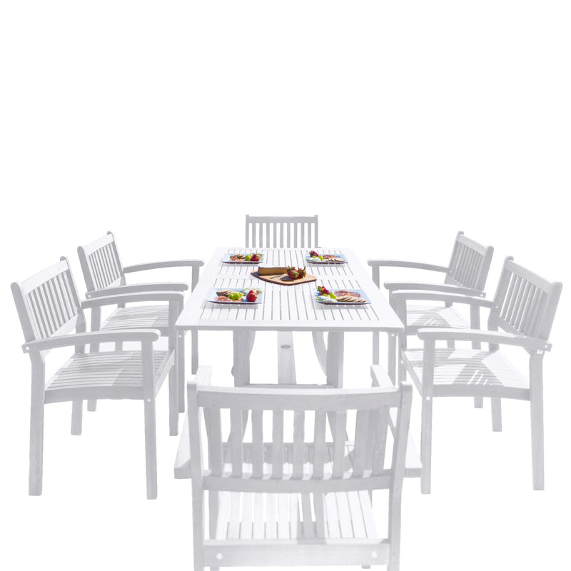 AUKI Outdoor Patio Wood 7-piece Dining Set with Stacking Chairs