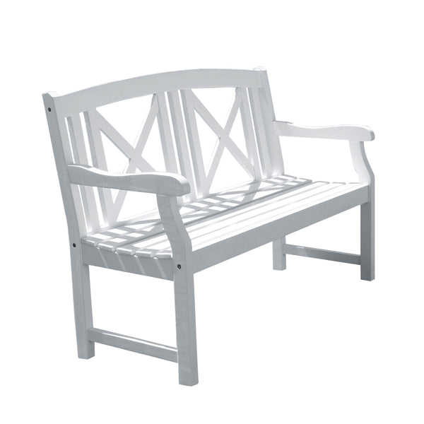 AUKI Outdoor Patio 4-foot Wood Garden Bench in White