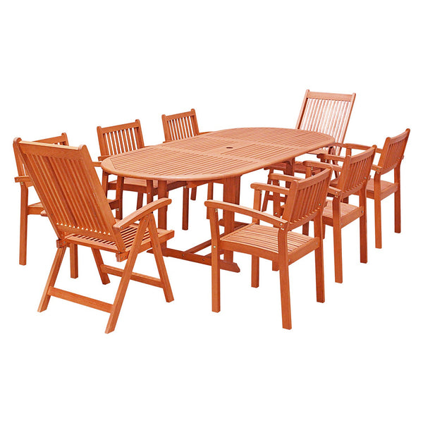 NORO Outdoor 9-piece Wood Patio Dining Set with Extension Table, Stacking Chairs and Reclining Chairs