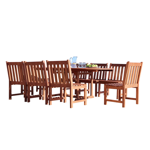 NORO Outdoor 9-piece Wood Patio Dining Set with Extension Table & Armless Chair