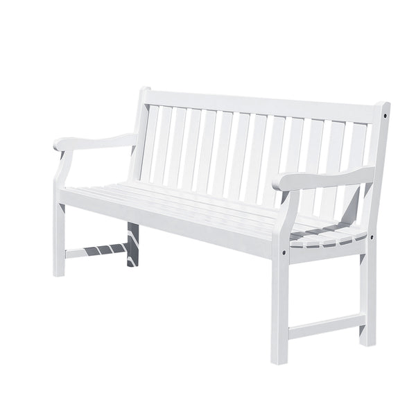 AUKI Outdoor Patio 5-foot Wood Garden Bench in White