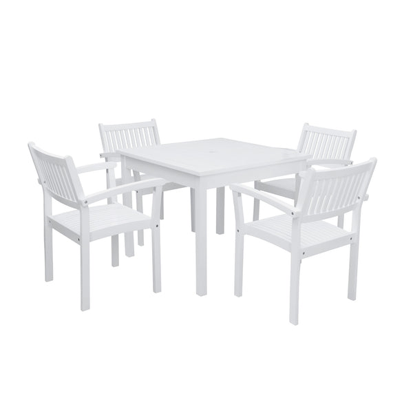 AUKI Outdoor 5-piece Wood Patio Stacking Table Dining Set