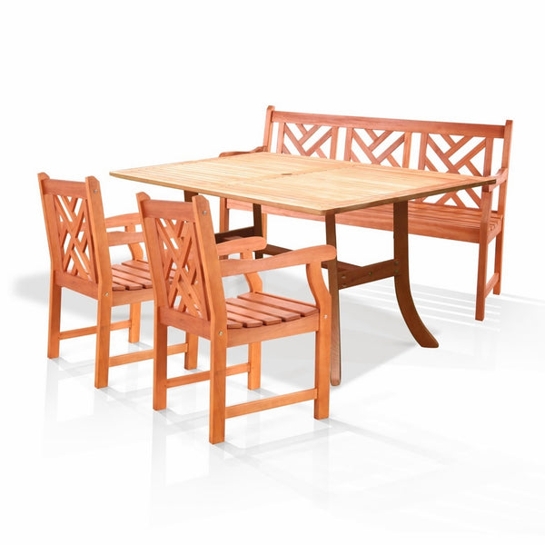 NORO Outdoor 4-piece Wood Patio Dining Set with 5-foot Bench and Armchairs
