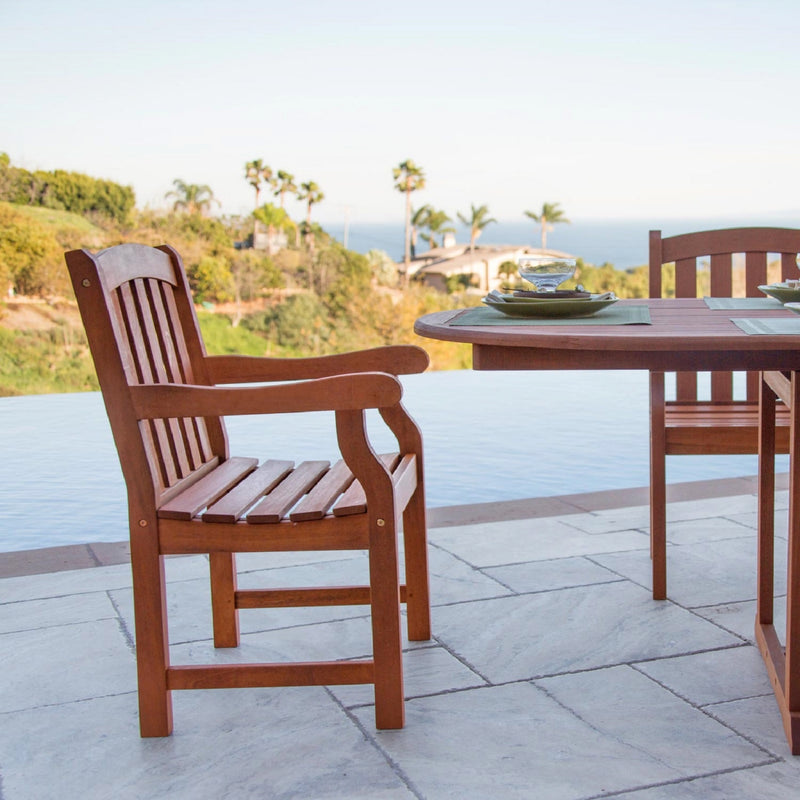 NORO Outdoor 4-piece Wood Patio Dining Set with 5-foot Bench