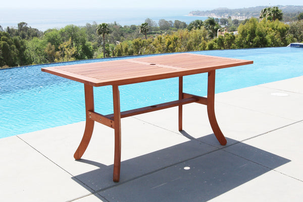 NORO Outdoor Rectangular Dining Table with Curvy Legs