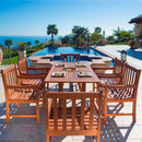 NORO Outdoor 7-piece Wood Patio Dining Set with Curvy Leg Table