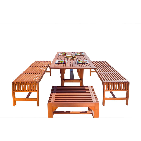 NORO Outdoor 5-piece Wood Patio Dining Set with Curvy Leg Table & Backless Bench