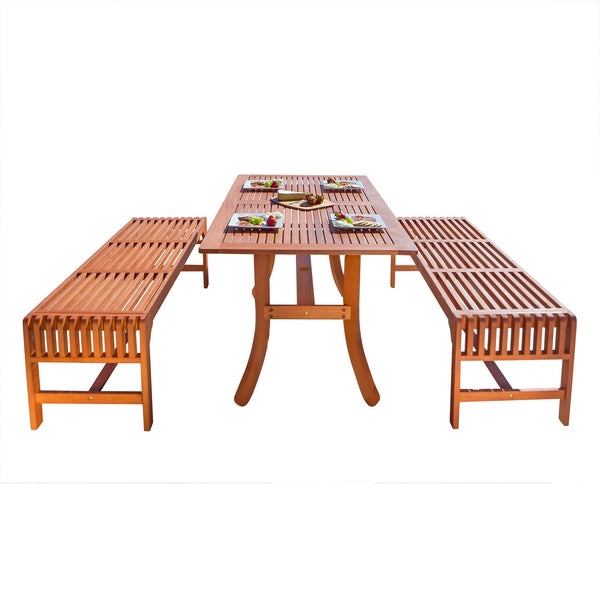 NORO Outdoor 3-piece Wood Patio Dining Set with Curvy Leg Table & Backless Bench