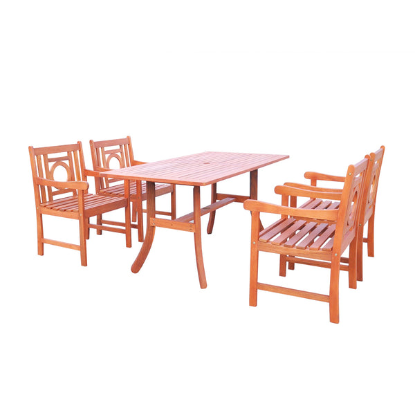 NORO Outdoor 5-piece Wood Patio Dining Set with Curvy Leg Table