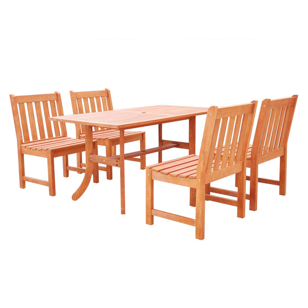 NORO Outdoor 5-piece Wood Patio Dining Set with Curvy Leg Table & Armless Chairs