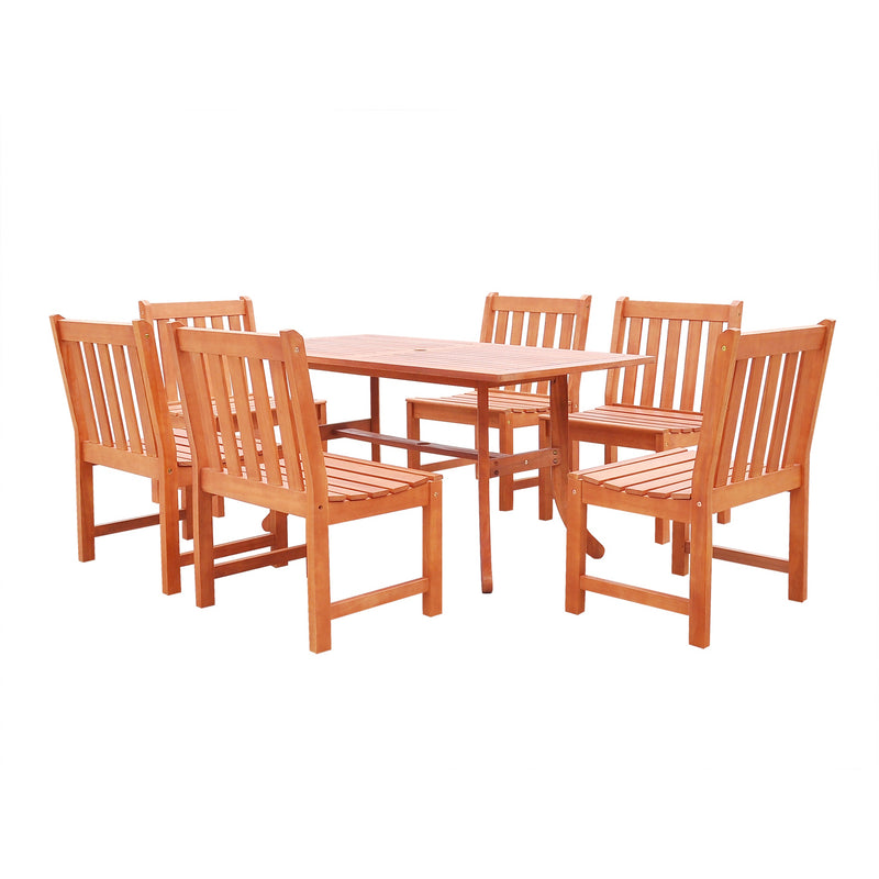 NORO Outdoor 7-piece Wood Patio Dining Set with Curvy Leg Table & Armless Chairs