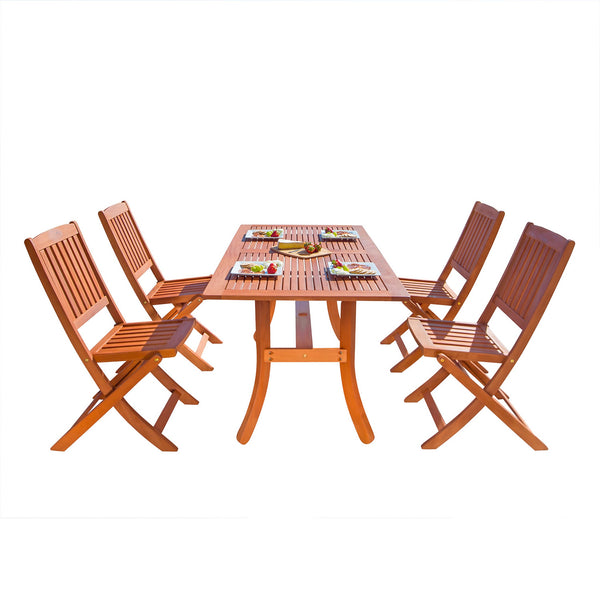 NORO Outdoor 5-piece Wood Patio Dining Set with Curvy Leg Table & Folding Chairs