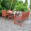 NORO Outdoor 4-piece Wood Patio Curvy Legs Table Dining Set
