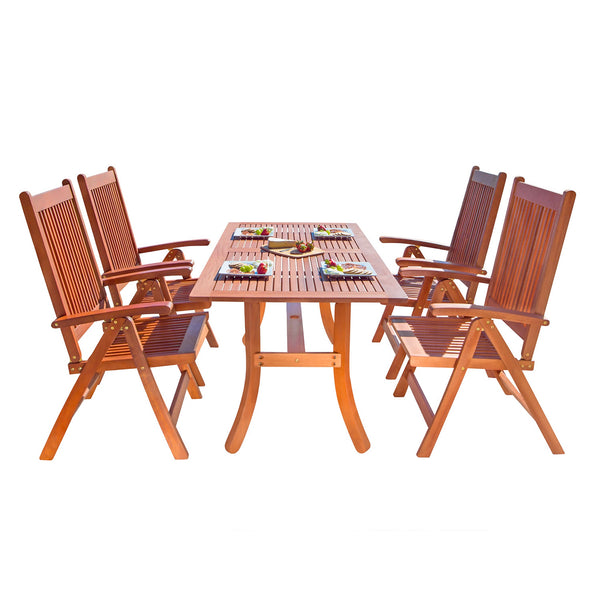 NORO Outdoor 5-piece Wood Patio Dining Set with Curvy Leg Table & Reclining Chairs