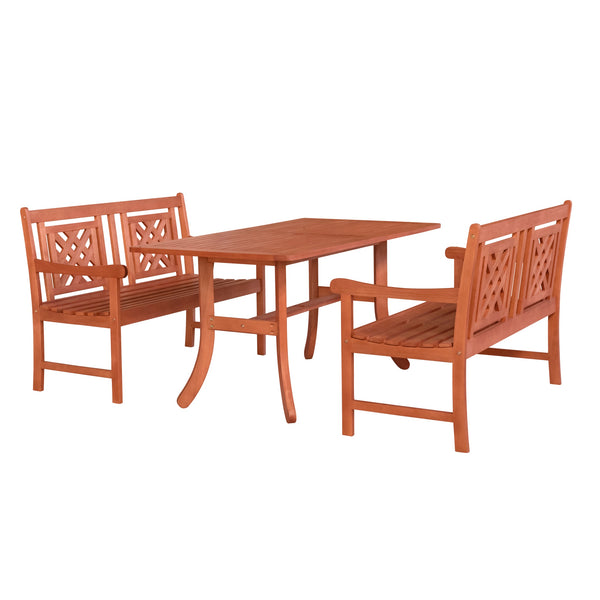 NORO Outdoor 3-piece Wood Patio Curvy Legs Table Dining Set