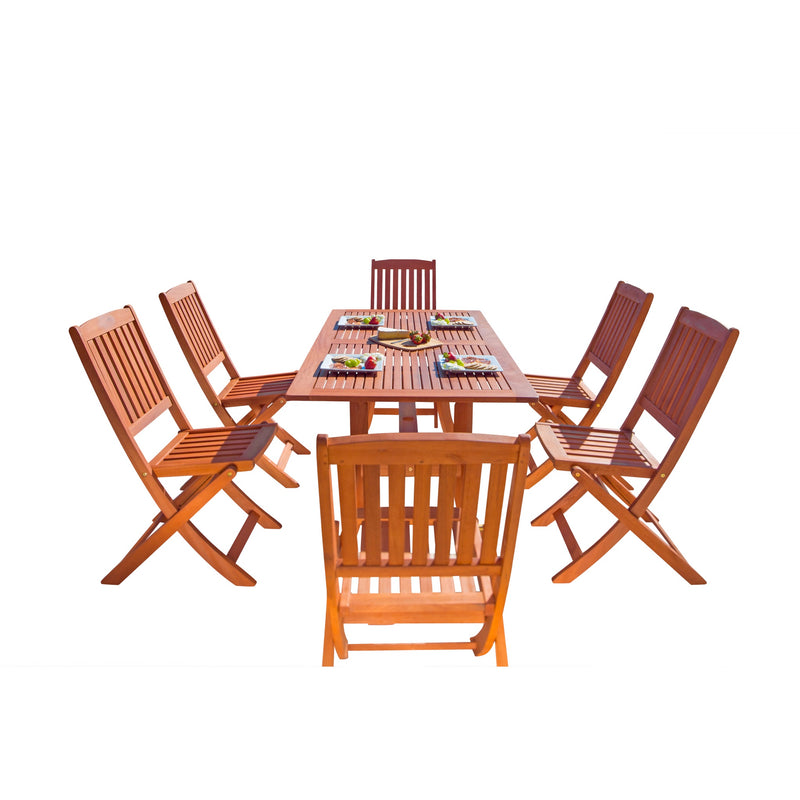 NORO Outdoor 7-piece Wood Patio Dining Set with Curvy Leg Table & Folding Chairs