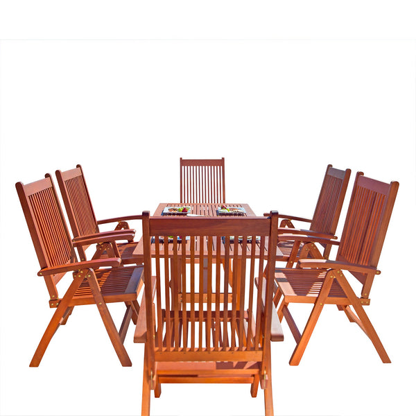 NORO Outdoor 7-piece Wood Patio Dining Set with Curvy Leg Table & Reclining Chairs